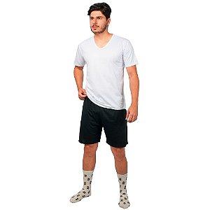 Conjunto Pijama Masculino Básico Verão Branco e Preto