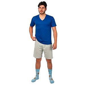 Conjunto Pijama Masculino Básico Verão Azul e Cinza