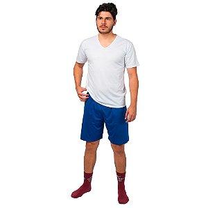 Conjunto Pijama Masculino Básico Verão Branco e Azul