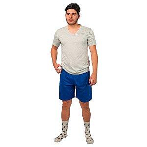 Conjunto Pijama Masculino Básico Verão Cinza e Azul