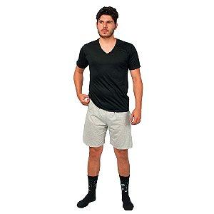 Conjunto Pijama Masculino Básico Verão Preto e Cinza