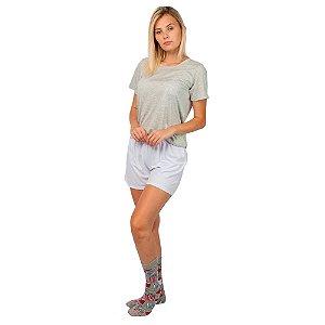 Conjunto Pijama Short Dolll Básico Cinza e Branco