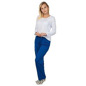Conjunto Pijama Feminino Básico Manga Longa Branco e Azul