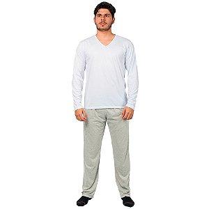 Conjunto Pijama Masculino Básico Manga Longa Branco e Cinza