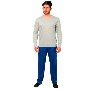 Conjunto Pijama Masculino Básico Manga Longa Cinza e Azul