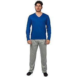 Conjunto Pijama Masculino Básico Manga Longa Azul e Cinza