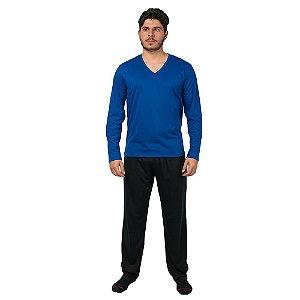 Conjunto Pijama Masculino Básico Manga Longa Azul e Preto