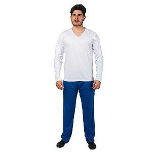 Conjunto Pijama Masculino Básico Manga Longa Branco e Azul