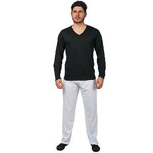 Conjunto Pijama Masculino Básico Manga Longa Preto e Branco