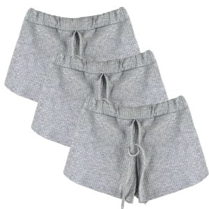 Kit 3 Shorts Canelado Fashion Feminino Cinza