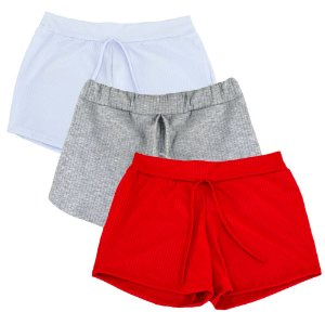 Kit 3 Shorts Canelado Fashion Feminino Summer