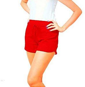 Short Canelado Fashion Feminino Vermelho