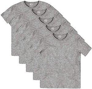 Kit com 5 Camisetas Básica Infantil Com Gola Redonda Cinza