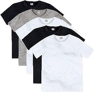 Kit com 5 Camisetas Básica Infantil Com Gola Redonda Colors