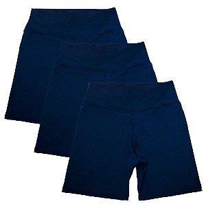 Kit com 3 Bermudas Fitness Feminino  Azul