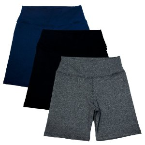 Kit com 3 Bermudas Fitness Feminino Azul Preto e Cinza