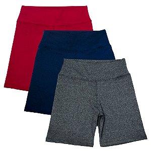 Kit com 3 Bermudas Fitness Feminino Vermelho Azul e Cinza