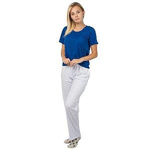 Pijama Feminino Manga Curta Básico Azul e Branco
