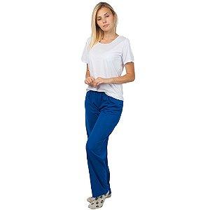 Pijama Feminino Manga Curta Básico Branco e Azul