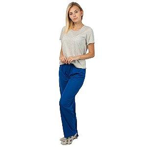 Pijama Feminino Manga Curta Básico Cinza e Azul