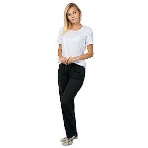 Pijama Feminino Manga Curta Básico Branco e Preto