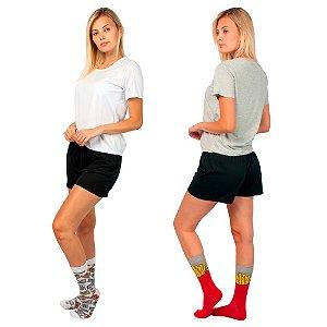 Kit 2 Conjunto de Pijamas Short Dolll Básico Branco, Preto e Cinza