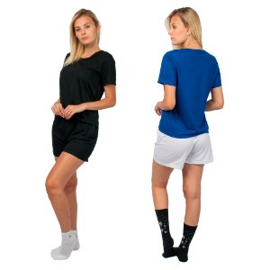 Kit 2 Conjunto de Pijamas Short Dolll Básico Preto, Azul e Branco