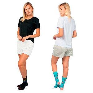 Kit 2 Conjunto de Pijamas Short Dolll Básico Preto, Branco e Cinza