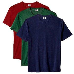 Kit com 3 Camisetas Masculina Básica Algodão Premium Azul Verde e Vinho