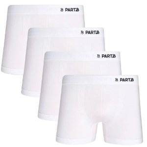 Kit com 4 Cuecas Boxer Seamless Part.B Sem Costura Masculino Branco