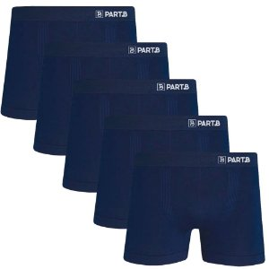 Kit com 5 Cuecas Boxer Seamless Part.B Sem Costura Masculino Azul