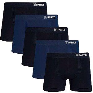 Kit com 5 Cuecas Boxer Seamless Part.B Sem Costura Masculino Azul e Preto