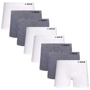 Kit com 8 Cuecas Boxer Seamless Part.B Sem Costura Masculino Branco e Cinza