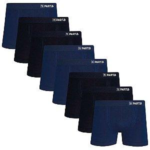 Kit com 8 Cuecas Boxer Seamless Part.B Sem Costura Masculino Azul e Preto