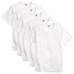 Kit com 5 Camisetas Slim Masculina Básica Algodão Part.B Branca