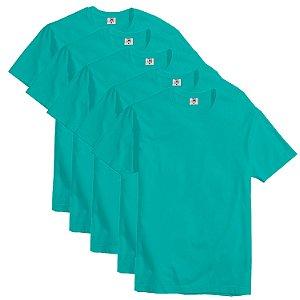 Kit com 5 Camisetas Slim Masculina Básica Algodão Part.B Verde Água