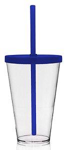 Copo Shake com Tampa Azul 550ml - Acrilico PS