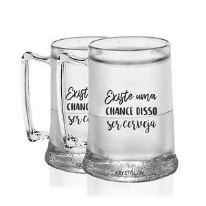Kit 2 Canecas Gel 400ml Personalizadas Chance de ser Cerveja