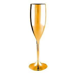 Taça Champanhe Metalizada Dourada 170ml - Poliestireno Acrilico PS (Minimo de 100 peças para personalizar)