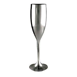 Taça Champanhe Metalizada Prata 170ml - Poliestireno Acrilico PS (Minimo de 100 peças para personalizar)