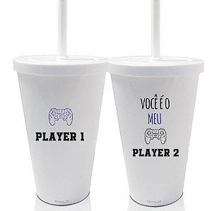 Kit 2 Copo Shake com Tampa 550ml - Dias dos Namorados - Você é o meu Player
