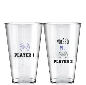 Kit 2 Copo Big Drink 550ml - Dias dos Namorados - Player 1 e Player 2