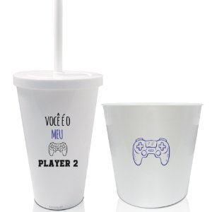 Kit Balde de Pipoca +2 Copos Personalizado Namorados Player 1 e Player 2