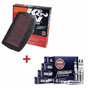 Kit Filtro De Ar K&n + Velas De Iridium Ngk Fz6 Fazer 600