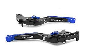 Manete Esportivo Z1000 Preto Azul Gravado A Laser Z1000