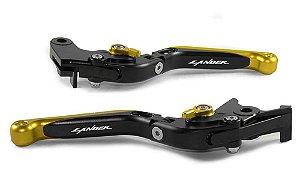 Manete Esportivo Preto Dourado Lander 250  Laser Lander