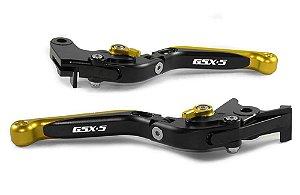 Manete Esportivo Preto Dourado Gsx-s 750 1000 A Laser