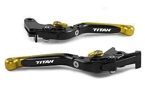 Manete Esportivo Preto Dourado Cg Titan 125 150 160 A Laser
