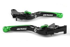 Manete Esportivo Preto Verde Nxr 125 150 160 Laser Bros