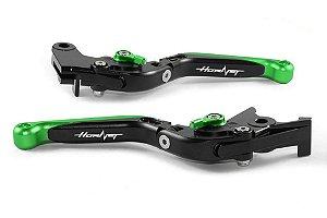Manete Esportivo Preto Verde Cb600 A Laser Hornet